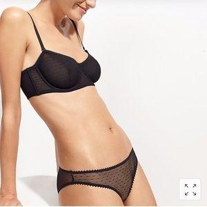 NWT J Crew Point d'esprit black mesh bikini undies